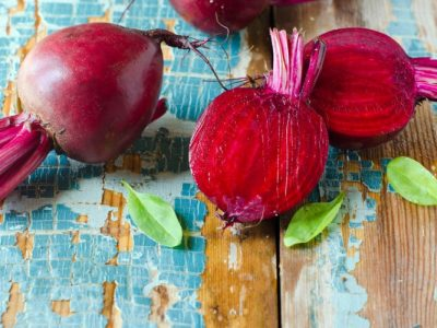 Fresh beet on a wooden background